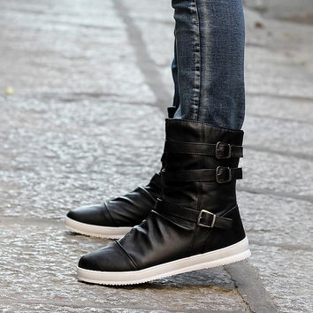 Male Boots 2015 Winter New Fashion England Style Men's Casual Boots Warm Boots Black Metal Buckle With Zipper Boot