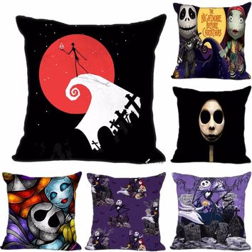 Custom Decorative Pillowcase The Nightmare Before Christmas Square Zippered Pillow Cover 35X35,40x40,45x45cm(One Side)180516-53