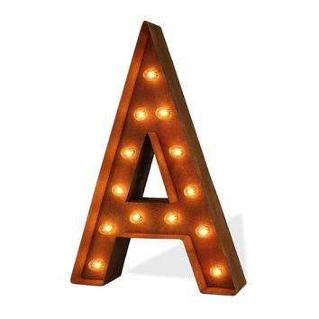"12"" Letter A Lighted Vintage Marquee Letters (Modern Font/Rustic)"
