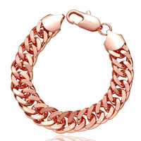 18K Rose Gold Double Chained Men's Bracelet with Swarovski Elements