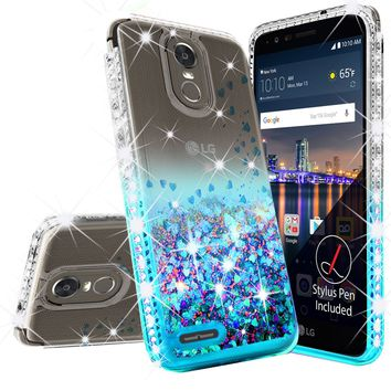 LG Stylo 3 Case, LG Stylus 3 Case Liquid Glitter Phone Case Waterfall Floating Quicksand Bling Sparkle Cute Protective Girls Women Cover for Stylo 3/Stylus 3 - Teal