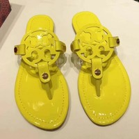 Tory Burch New fashion solid color leopard print slippers shoes sandals women Yellow