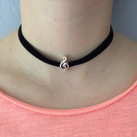 Silver Music Note Black Suede Choker Adjustable Necklace Trendy jewelry women's collar chocker Goth Elegant Dressy
