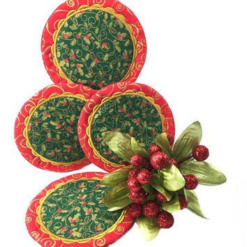 Christmas Drink Coasters - Drinking Coasters, Party Coasters, Unique Hostess Gift, Christmas Decor, Holiday Decor - Gifts Under 15, 20, 25