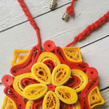 1st anniversary, necklaces, boho, artsy jewelry, paper jewelry, gift for her, gift for women, birthday anniversary, paper quilling