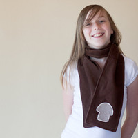 Eco Friendly. Children's. Mushroom Scarf. Fall Fashion. Upcycled Corduroy. FREE Shipping.