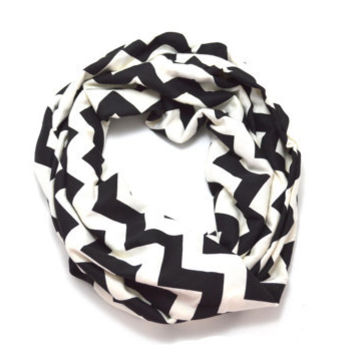 Black and Cream Chevron Jersey Knit Infinity Scarf