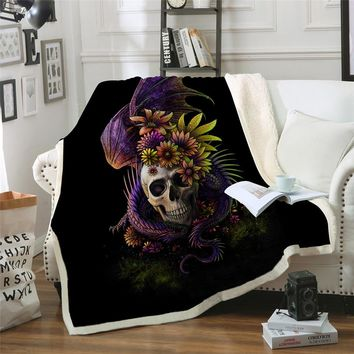 Flowery Skull Throw Blanket Purple Gothic Sherpa Fleece Blanket