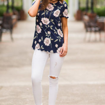 Loving This Life Top, Navy