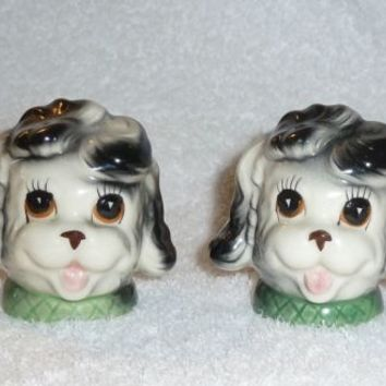 Vintage Poodle Dog Puppy Black White Salt and Pepper Shakers Figurine