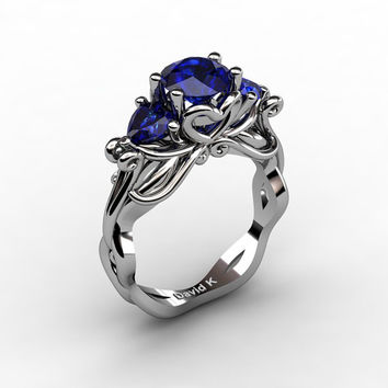 Nature Fairy 14K White Gold 1.0 Ct Round and Heart Blue Sapphire Three Stone Engagement Ring R1082-14KWGBS