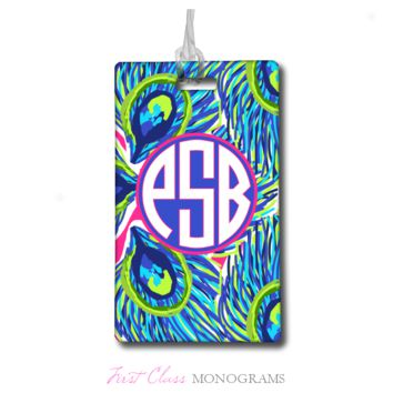 Tracey Gurley Peacock Feathers Monogram Luggage Tag