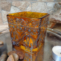 Glass candleholder Bohemian decor Filigree painting Glass painting