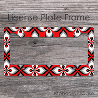 Red black white floral design custom license plate frame