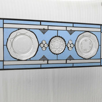 Royal Lace Depression Glass Stained Glass Panel Window Treatment Valance Transom Recycled Vintage Plate
