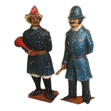 Vintage English Bobby Police Fire Brigrade Wall Plaques