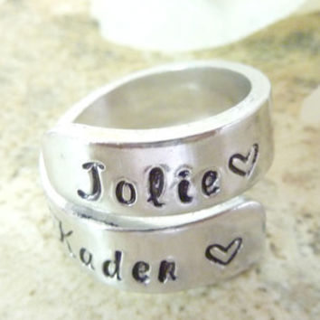 Personalized Ring Personalized Wrap Ring Wrapped ring Handstamped name ring