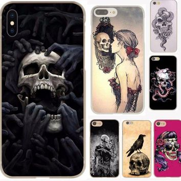 flower Skull Lady Man Painted Hard Phone Cover Case for iphone 5 6 7 plus