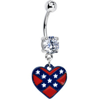 Double Clear Gem Rebel Flag Heart Dangle Belly Ring | Body Candy Body Jewelry