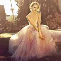 Tulle Wedding Dress Blushing in Pink by ouma on Etsy