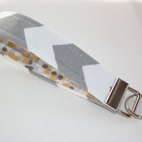 Key FOB / KeyChain / Wristlet key strap - Gray chevron zig zag gold metallic flecks Confetti soft - gift for her under 10
