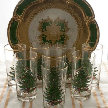 Cuthbertson Christmas Tree Glasses Vintage Drinking Glasses Christmas Tumblers 12 Ounce Set of 8