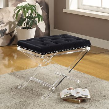 Evoque Velvet Bench with Acrylic Legs | Overstock.com Shopping - The Best Deals on Benches