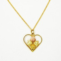 Black Hills 10K Gold Heart Pendant 10K Gold Filled Chain, with Yellow and Rose Gold Leaves Vintage 1990s Pendant Necklace Gift for Her
