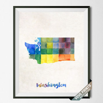 Washington, Map, Print, Artwork, Wall Art, Decor, USA, Poster, Watercolor, School, Painting, Decoration, Gift, Home Town, States [NO 47]