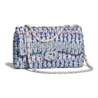 Knit & Silver-Tone Metal Blue, Pink & Turquoise Flap Bag | CHANEL