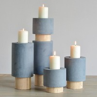 Gray Resin Candle Stand Holder