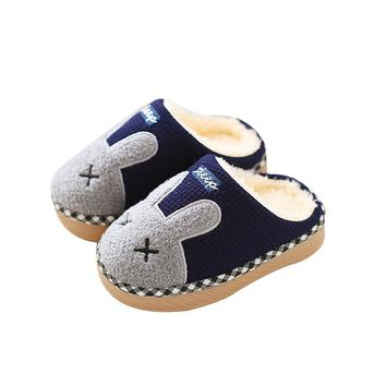 animal Flannel kids slippers Winter Warm Plush baby home slippers boys girls toddler shoes child Flip Flops