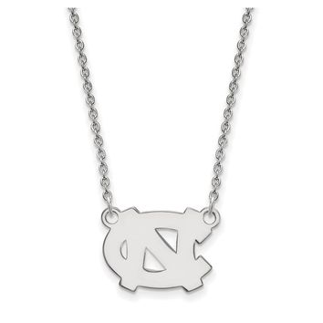 NCAA 10k White Gold North Carolina Small 'NC' Pendant Necklace