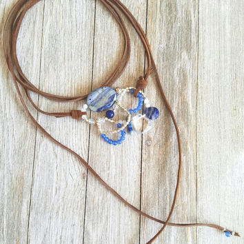 Brown Leather Choker with Stones-Statement Necklace-Suede Leather Wrap Necklace-Bolo Tie Necklace-Leather Lariat Necklace-Boho Gift Idea