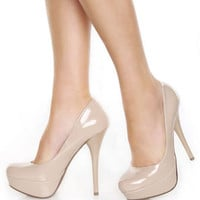 My Delicious Jones Dark Beige Patent Platform Pumps - $29.00