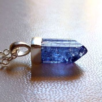 Men's or Women's Tanzanite Natural Raw Crystal Pendant Necklace