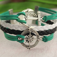 anchor bracelet-- compass pendant,Guide the direction of life,antique silver charm bracelet,white&black braid leather bracelet