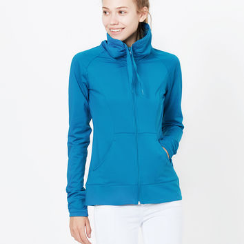 LE3NO PREMIUM Womens Active Full Zip Up Cowl Neck Running Sports Jacket