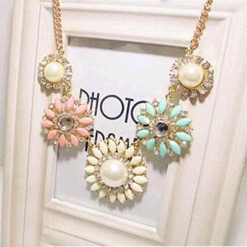 Tomtosh 2016 New Hot Crystal Flower Bib Statement Necklace Chunky Bubble Choker Collar Pendant Chain Free shipping