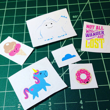 Not all who wander are lost planner sticker set with unicorn and yeti (SALE)