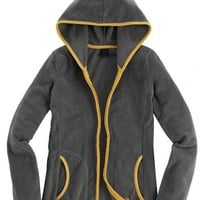 Gray Collision Color Slim Hooded Cardigan Sweatshirt$46.00
