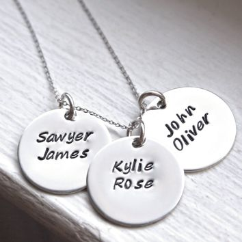 3 Medium Round Discs, Mommy Necklace, Hand Stamped Personalized Necklace