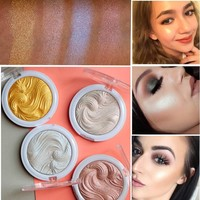 2017 New Miss Rose Highlighter Make Up Palette Waterproof White Gold Shimmer Glow Brightening Powder Highlighter Makeup Kit