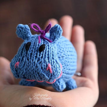 Little Toy Hippo, handknit from eco friendly cotton yarn, spring gift and decoration, easter, gift for kids and adults
