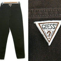 Vintage GUESS Jeans~Waist 29~Size Medium~80s 90s High Waisted Dark Brown Denim Pants~By Guess Jeans
