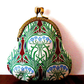 Blossom tree nouveau heart purse / red / blue / white / green / cotton / lined / gift / rhinestone / bronze / embossed / pouch / clasp purse