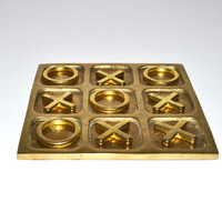 Vintage Brass Tic Tac Toe Game Vintage Board Game Brass Coffee Table Game Travel Tic Tac Toe Game Home Décor