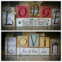 Lovin' Life at the Lake/Cabin Themed Custom Reversible Wooden Block Set - Personalize it with your family's cabin name as seen here!
