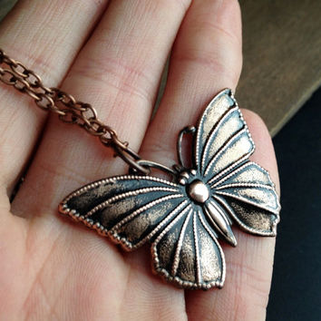 Copper Butterfly Necklace - Butterfly Charm Necklace  - Copper Chain - Boho - Hippie Necklace