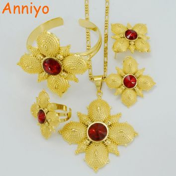 Ethiopian Cross Jewelry sets Gold Color  Stone Cross sets for African Traditional Festival - Free Shipping